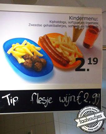 Kindermenu met flesje wijn - Ikea