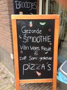 Hmm, een pizzasmoothie, lekker!