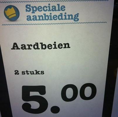 aardbeien 2 stuks voor 5 euro