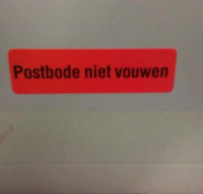 Postbode niet vouwen