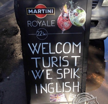welcom turist we spik inglish