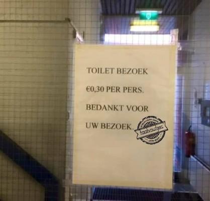 Toilet: € 0,30 per pers