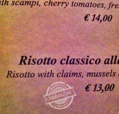 Risotto with claims