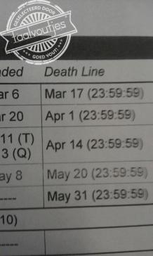 Weinig kans dat je die van 31 mei haalt…