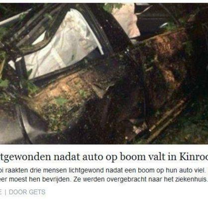 Auto op boom?