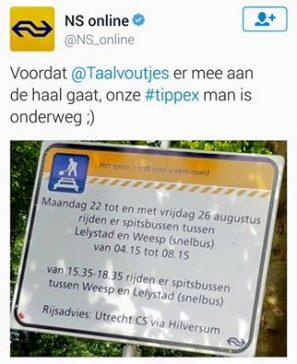 Soms kun je ons maar beter voor zijn. Bravo, Nederlandse Spoorwegen!