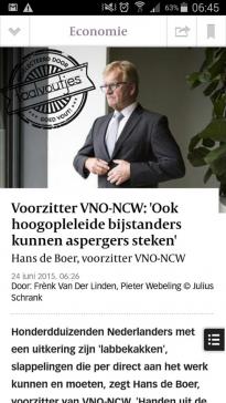 De Boer neemt zijn uitspraak terug, Van Der Linden zijn krantenkop.