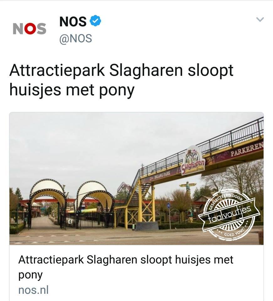 slagharen sloopt huisjes met pony