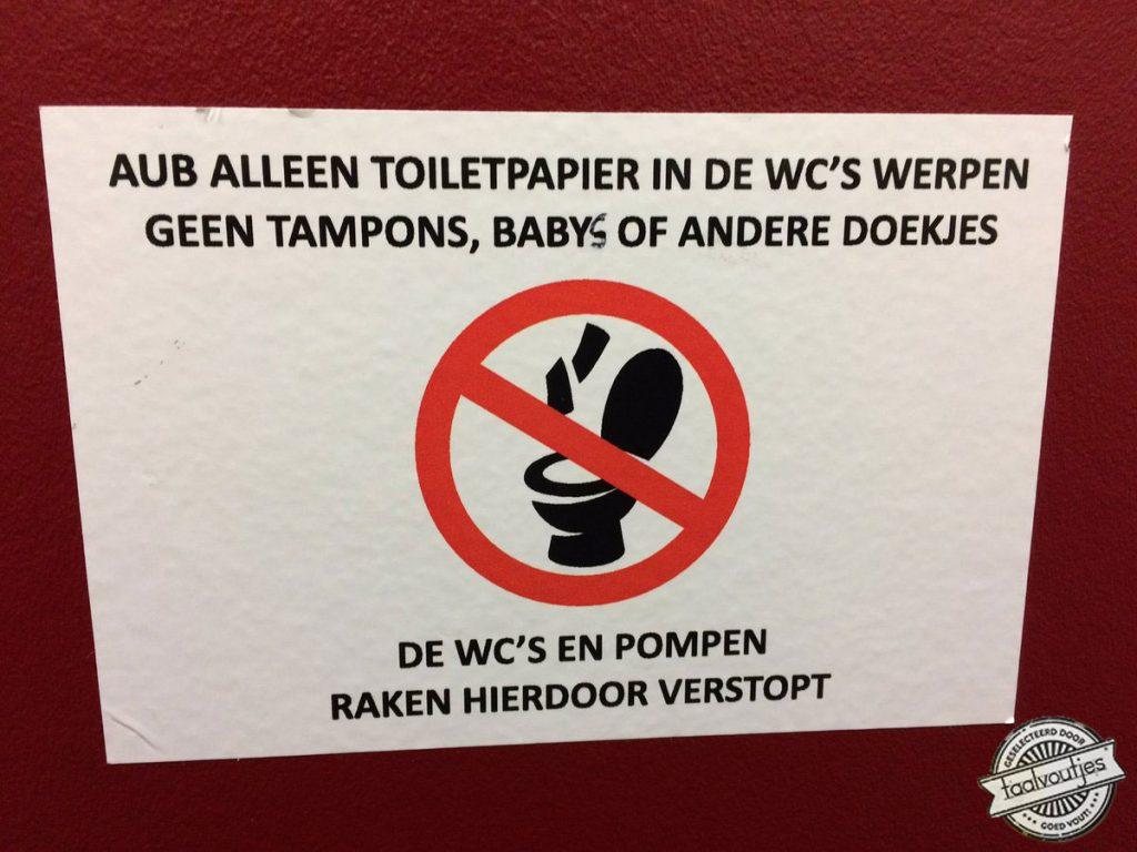Geen baby's in de wc's werpen
