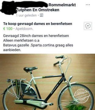Naast broodjes smeren ook al fietsen.