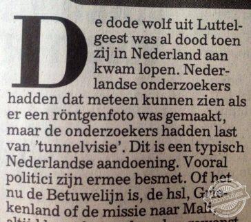 De wolf in Nederland is tot daaraantoe, maar een zombiewolf?