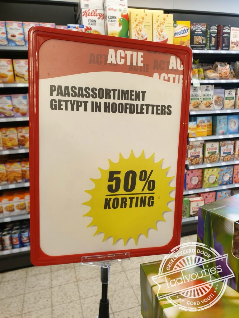 Paasassortiment getypt in hoofdletters