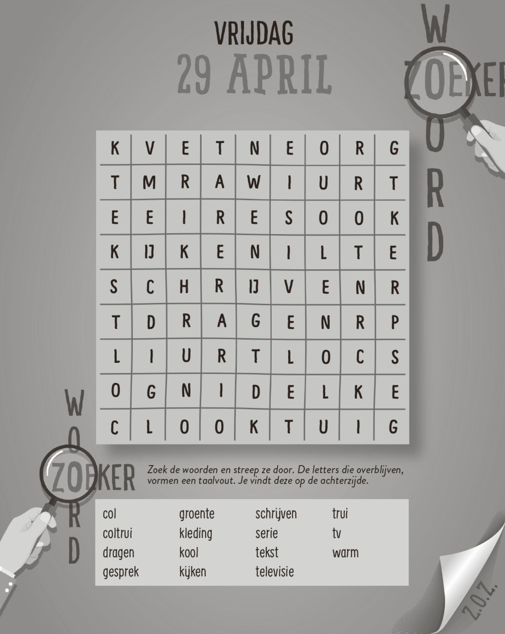 Taalvoutjes-scheurkalender 2022 - woordzoeker